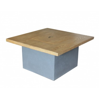 Altair Gas Fire Pit - Square Wood Table with Infill