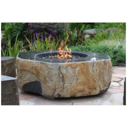 Elementi Basalt Boulder Outdoor Firepit - Natural Gas