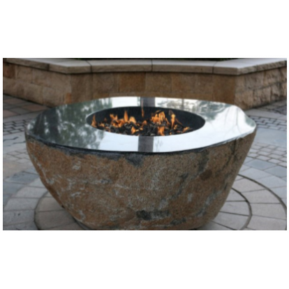 Elementi Large Granite Outdoor Firepit Boulder - Natural Gas