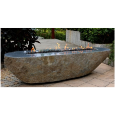 Elementi Long Granite Boulder Outdoor Firepit