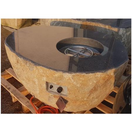 Elementi Pear Granite Boulder Outdoor Firepit - Natural Gas - Setup Service