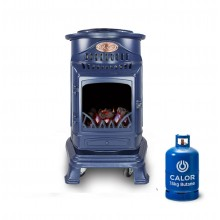 Provence Portable Real Flame Gas Heater in Navy Blue + 15kg Gas Bottle