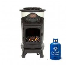 Provence Portable Real Flame Gas Heater - Cream and Black + 15kg Gas Bottle