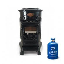 Provence Portable Real Flame Gas Heater in Gloss Black + 15kg Gas Bottle
