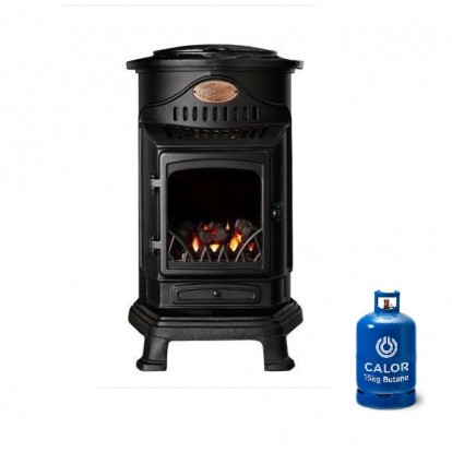 Provence Portable Real Flame Gas Heater - Matt Black + 15kg Gas Bottle