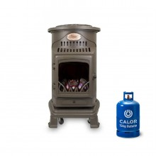 Provence Portable Real Flame Gas Heater in Honey Brown + 15kg Gas Bottle