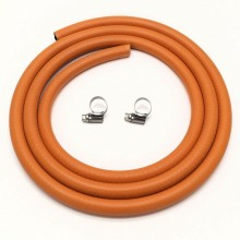8mm Gas Hose 2 Metre + 2 Jubilee Clips