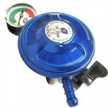 BUTANE 21mm REGULATOR WITH PRESSURE GAUGE & 2 M HOSE KIT CLIPS