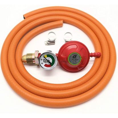 Propane Regulator With Gauge Screw In + 8mm Gas Hose 2 Metre + 2 Jubilee Clips