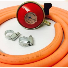 Patio Gas Regulator + 8mm Gas Hose 2 Metre + 2 Jubilee Clips