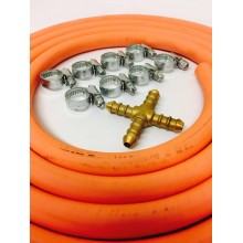 4 Way Hose Splitter + 2m Gas Hose + 8 Jubilee Clips