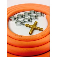 4 Way Hose Splitter + 2m Gas Hose + 8 Jubilee Clips
