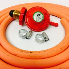 Propane Regulator Handwheel Screw In + 8mm Gas Hose 2 Metre + 2 Jubilee Clips
