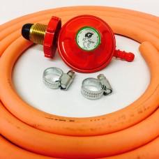Propane Regulator Handwheel Screw In + 8mm Gas Hose 2 Metre + 2 Jubilee Clips