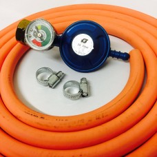 Butane Regulator With Gauge Screw In + 8mm Gas Hose 2 Metre + 2 Jubilee Clips