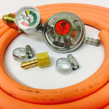 Propane Regulator with Gauge + 1.5m Gas Hose + 2 Clips