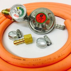 "Propane Regulator With Gauge Screw In + 8mm Gas Hose 1.5 Metre + 2 Jubilee Clips + 1/4"" Left Hand BBQ Fitting"