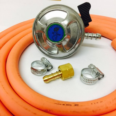 21mm Butane Regulator + BBQ Nut and Nozzle Connection + 2m Gas Hose + 2 Jubilee Clips