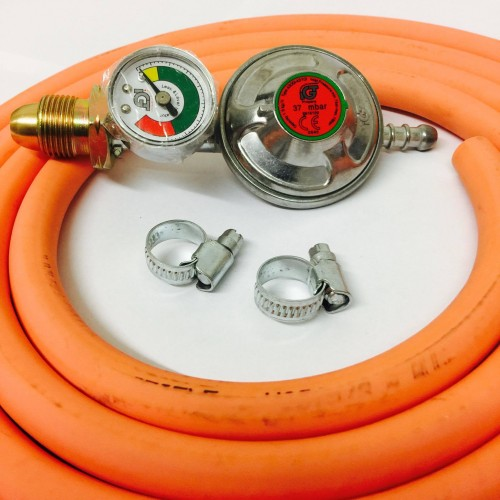 PROPANE GAS REGULATOR WITH GAUGE REPLACEMENT HOSE KIT FOR UK
