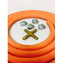 4 Way Hose Splitter + 2m Gas Hose + 4 Jubilee Clips