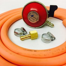 Patio Gas Propane Regulator + BBQ Nut and Nozzle + 2m Gas Hose + 2x Jubilee Clips