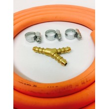 3 WAY Y CONNECTOR + 2m 8mm GAS HOSE & 3 CLIPS