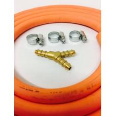 3 WAY Y CONNECTOR + 2m 8mm GAS HOSE & 3 CLIPS