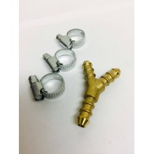 3 Way Y Piece Gas Hose Splitter + 3 Jubilee Clips