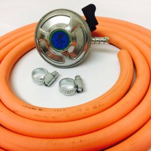 Butane Regulator 21mm Clip On + 8mm Gas Hose 2 Metre + 2 Jubilee Clips