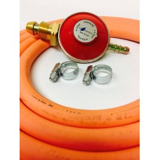Propane Regulator Screw in + 2m of 8mm Gas Hose + 2 Jubilee Clips